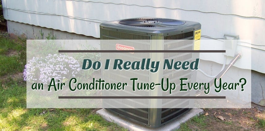 "Featured image of the blog title ""Do I Really Need an Air Conditioner Tune-Up Every Year"" with a background of Air Conditioner"