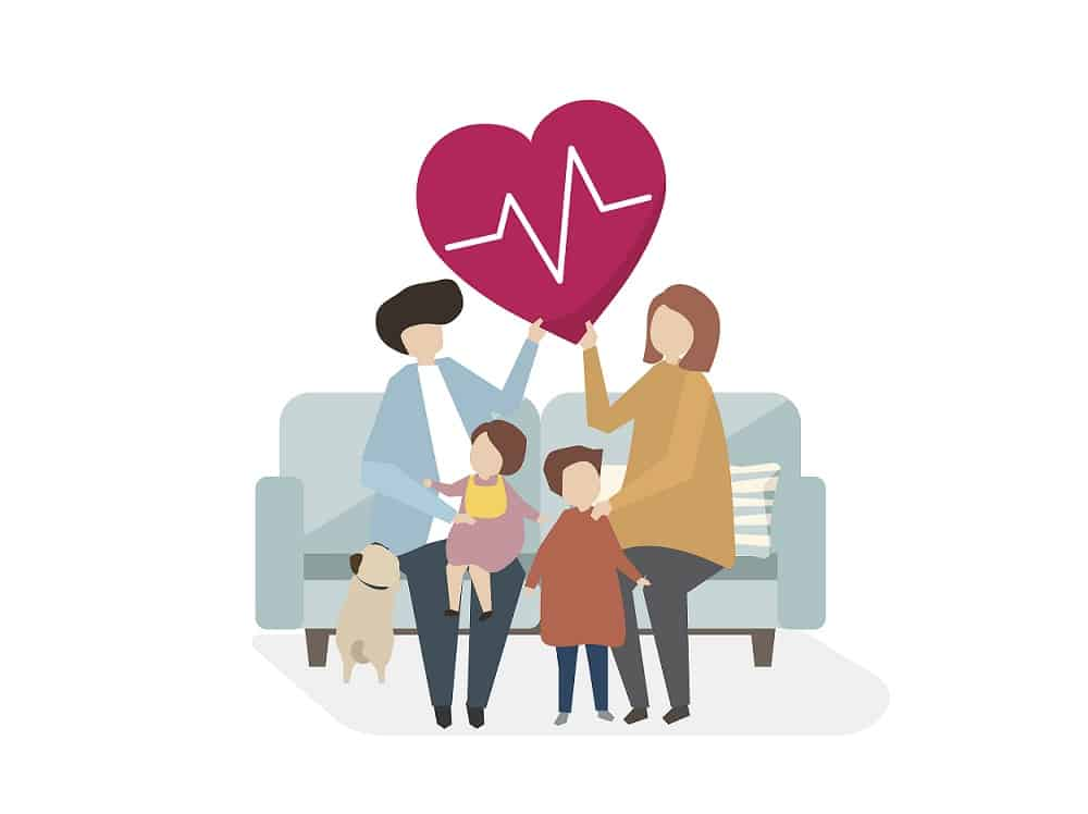 animated image of the family sitting on the couch which relates to health care