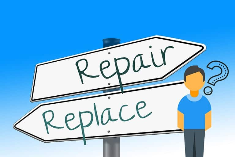 two arrows pointing to different directions with a text of repair and replace