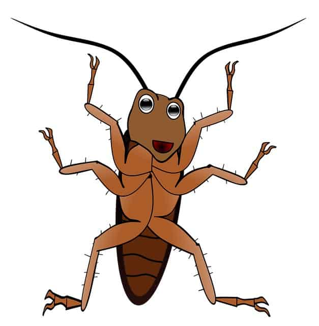 Animated drawing of a happy cockroach that can cause allergies