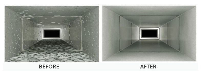 the results of before and after the duct clean