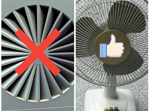 two collage fans which is exhaust fan and room fan