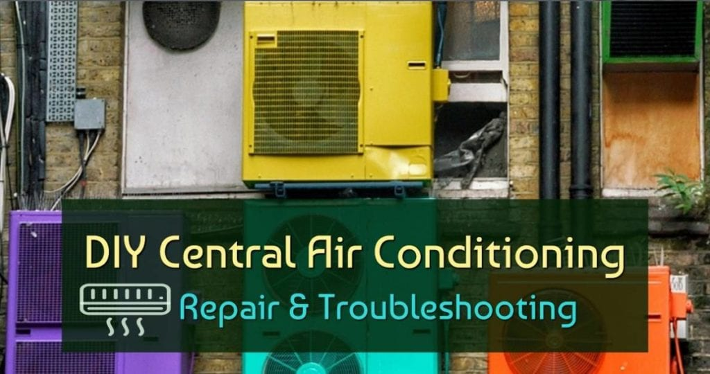 "Featured image of the blog title ""DIY Central Air Conditioning Repair & Troubleshooting"" with a background of colorful Central Air Condition"