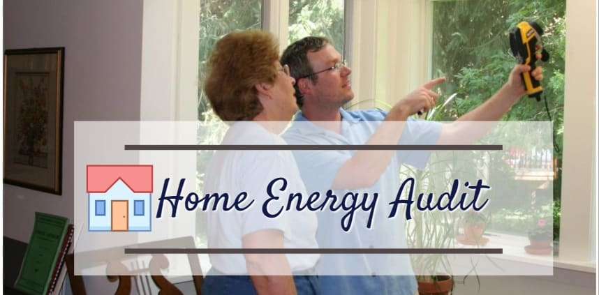 "featured image of the blog title ""Home Enery Audit"" with a background of two peole discussing that relates to energy audit"