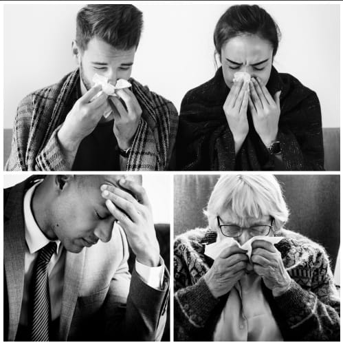 collage photos of people who got sick From Breathing Mold